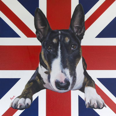 English Bull Terrier Painting. Oil on Canvas, Union Jack Background