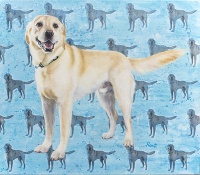 Yellow Labrador Oil Portrait Oil on Canvas, Custom Commission Pet Portrait, Dog Commission