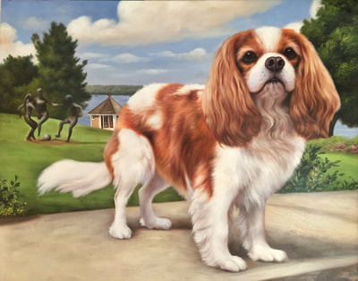 King Charles Spaniel Oil Painting. Custom Commission Portrait in Private Garden